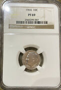 1964 Roosevelt Dime Ngc Pr69 Pf69 Silver Proof