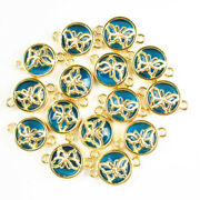 10pcs Wrapped Blue Crystal Round Gold Butterfly Connector Pendant Bead 1763sj