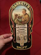 W.e. Garrett And Sons Paper Advertising Snuff Tobacco Working Thermometer/sign