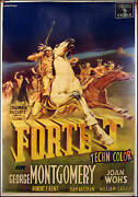 French Antique Movie Poster Fort Ti Fort Ticonderoga George Montgomery Art L@@k