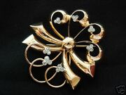Large Early 40and039s 18k Gold And 0.50ct Diamonds Pin/brooch