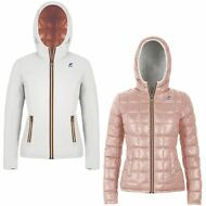 K-WAY giacca reverse imbottita DONNA KWAY CAPPUCCIO LILY THERMO PLUS DOUBLE 976n