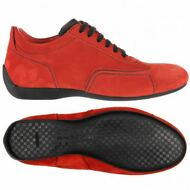 SABELT UNISEX 103U SUEDE NYLON DRIVING RACING SCAMOSCIATE Rosso Nero New A11whgr