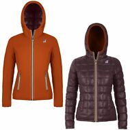 K-WAY giacca reverse imbottita DONNA CAPPUCCIO LILY THERMO PLUS DOUBLE KWAY 985v