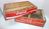 Lot of 2 Coca Cola / Coke Wooden Cases - 24 Slot & 2 Slot Divided Carry Bottles