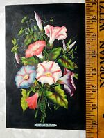 1870s 80s Lovely Morning Glory Floral Card Eureka Sewing? Trade Card L15