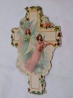 Victorian Die-Cut Cross Victorian Trade Card Archangels Trumpets Ivy Wings F45