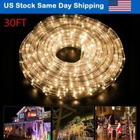 30' LED Rope Lights 2-Wire Indoor Outdoor Decor Holiday Warm White with Remote