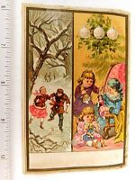 1879 Lovely Winter Christmas Girls With Dolls Victorian Trade Card F49