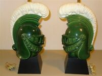 RARE 1950s Royal Haeger? Table Lamps Knights In Green Armor * Fiberglass Shades