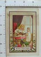 Victorian Christmas Trade Card Pretty Girl Reading To Dolls Parlor Scene #A