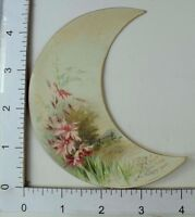 New Years' Victorian Die-Cut Crescent Moon Trade Card Field Pink Flowers #R