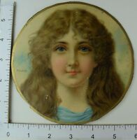 Victorian Die-Cut Trade Card Ryland Lovely Young Girl Flowing Hair Blue #R