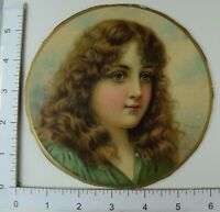 Victorian Die-Cut Trade Card Ryland Lovely Young Girl Flowing Hair Green #R