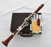 Professional Grenadilla Rose Wooden Clarinet Silver 19 Key Boom System With case