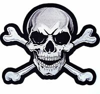 XL SKULL & CROSSBONES Large Embroidered PATCH Iron On Motorcycle 10.5