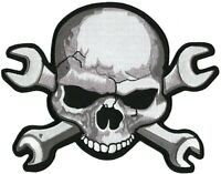 XL SKULL & WRENCH Crossbones Large Embroidered Patch IRON ON Motorcycle 11