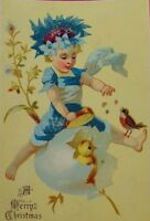1870's-80's Victorian Christmas Trade Card Fantasy Fairy Giant Egg Chick F94