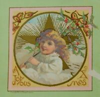 1883 Victorian Christmas Trade Card Child Holding Holly Gold Star Bells P43
