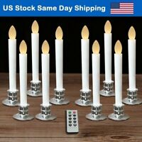 Flameless Taper Candles LED Window Light Timer Candles Timer Remote Silver Base