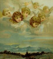 1870's-80's Victorian Christmas Trade Card Angels In Sky Looking Down
