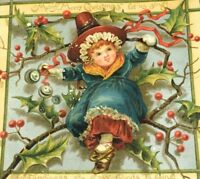 Circa 1880's Lovely Victorian Merry Merry Christmas Holly Holiday Trade Card