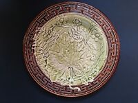 French Majolica Greek Key Plate Maple Leaf & Fern H.B.&Cie Choisy Le Roi