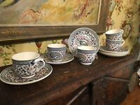 French Gien Pottery Bistro Cups & Saucers Vintage