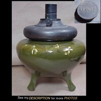 Antique Weller Dickensware Art Pottery Lamp B & H Kerosene Font