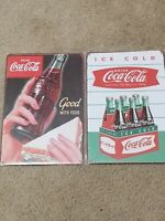 2 Lot Coca Cola Ice Cold Pack 6 Shield & Good With Food Tin Sign U.S Seller
