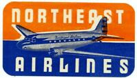 NORTHEAST AIRLINES Vibrant Old Luggage Label circa 1945