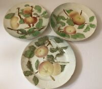 Set Of 3 Antique French Majolica Plate Apple Motif K.C. St Clement France, 1900