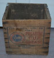 vtg~STANDARD OIL COMPANY POLARINE CUP GREASE CAN ADVERTISING BOX SHIPPING CRATE~