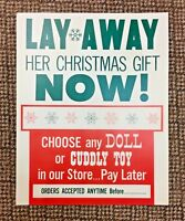 Vintage VTG Ben Franklin Store Christmas Lay Away Paper Advertising Poster 1950s
