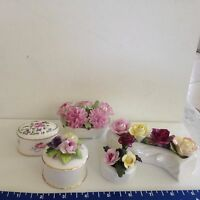 Staffordshire & Ainsley Crown bone china  5 figurines box gold pink red floral