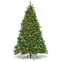 6.5ft Artificial Christmas Tree Premium Spruce Hinged Tree with LED Lights and S