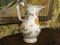Vintage French Faience Moustiers Pottery Pitcher Signed on bottom