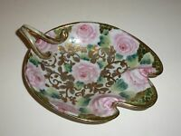 Stunning Vintage Nippon Nut Dish Roses Gold Tone Curved Handle