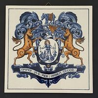 Delft Holland Handmade Tile Apothecaries Coat of Arms 1982 Burroughs Wellcome Co