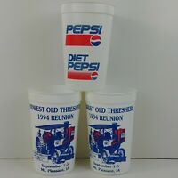 3 Advertising Pepsi Tumbler Midwest Old Threshers 1994 Reunion Mt. Pleasant IA
