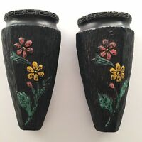 2 Vintage Japanese Tokanabe Floral Wall Pocket Vases Made In Japan