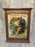 Antique 1890s Diamond Dyes Counter Display Cabinet Country Store Advertising Oak