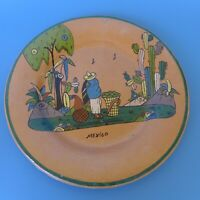 Large Mexican Tlaquepaque  tourist pottery plate 12 5/8