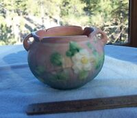 Vintage Roseville Pottery WHITE ROSE Teal & Pink Base Jardiniere 653-3