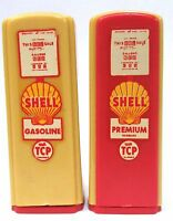 1950's SHELL red/yellow DECAL pair of matched GAS PUMP salt & pepper shakers *