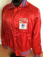 Coca Cola Jacket Vintage 1984 Olympics Bomber Satin Nylon M Red Snap Button RARE
