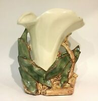 Vintage McCoy Pottery Large Wide Lily Flower Vase White Green Brown High Glaze