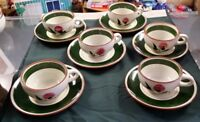 STANGL POTTERY CUPS AND SAUCERS THISTLE PATTERN SET OF 6