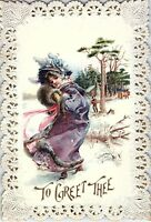 1880's Die-Cut Lace Frame Lovely Lady Winter Scene Victorian Trade Card P119