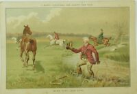 1880's Lovely Merry Christmas Comical Fox Hunting Victorian Trade Card P116